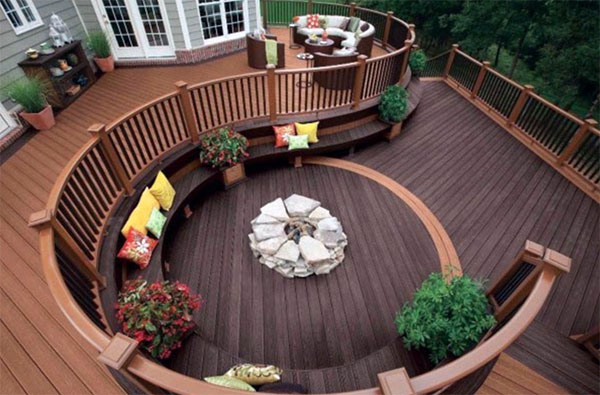 Built in Fire pits make decks warm and inviting in Autumn evenings