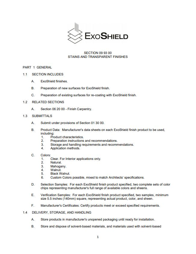 Architect Specifications (CSI) - ExoShield