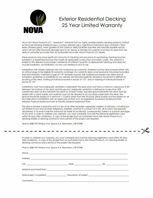 25 Year Decking Warranty