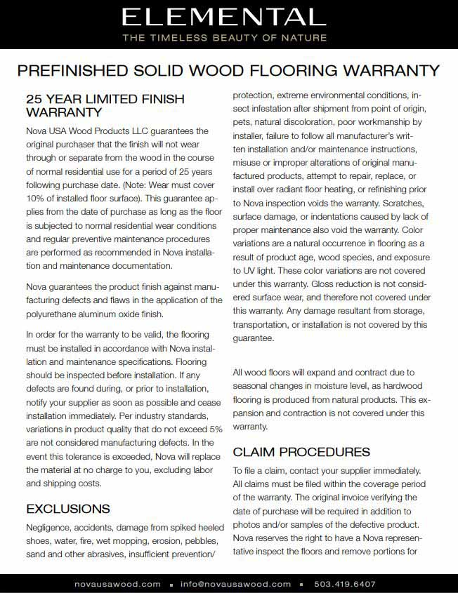 Nova Solid Wood Flooring Warranty