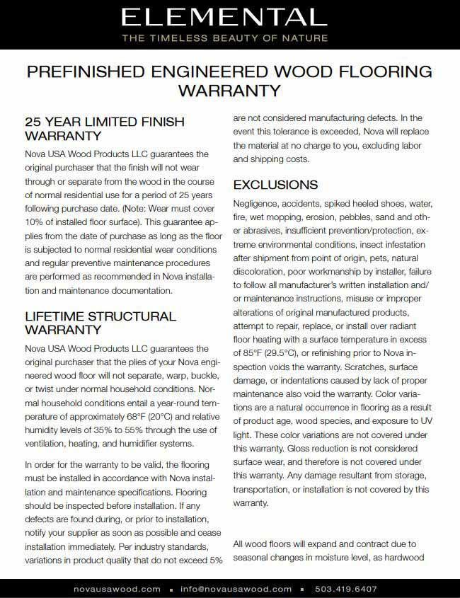 Nova Prefinished Engineered Flooring Warranty