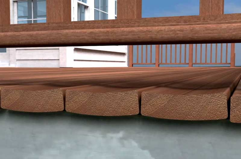 Warped and Cupped Hardwood Decking Boards