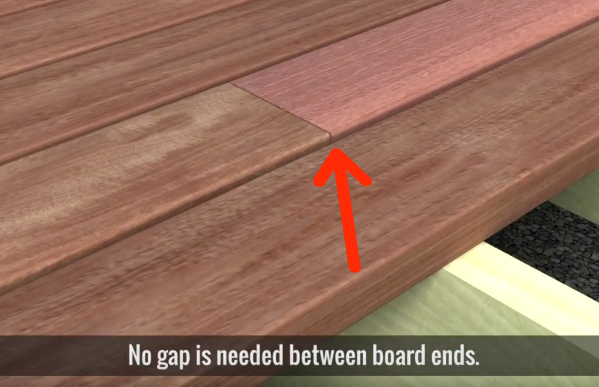 Deck boards should be installed with no space end to end.
