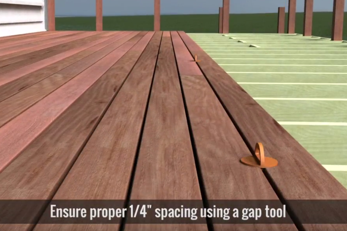 Deck boards should be spaced 1/4 inch apart, edge to edge.
