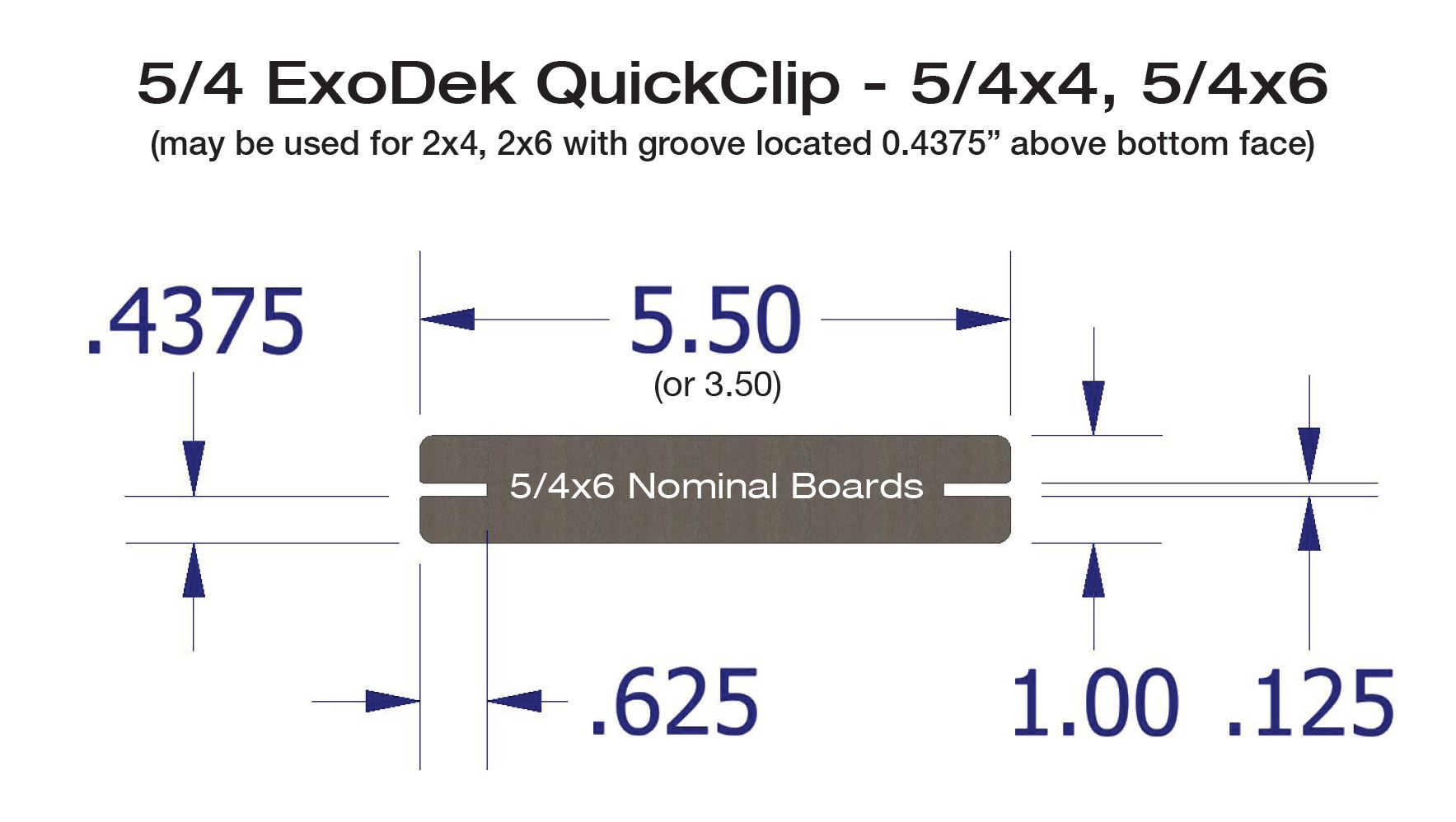 ExoDek QuickClip Hidden Deck Fasteners Grooved Decking Board Patterns