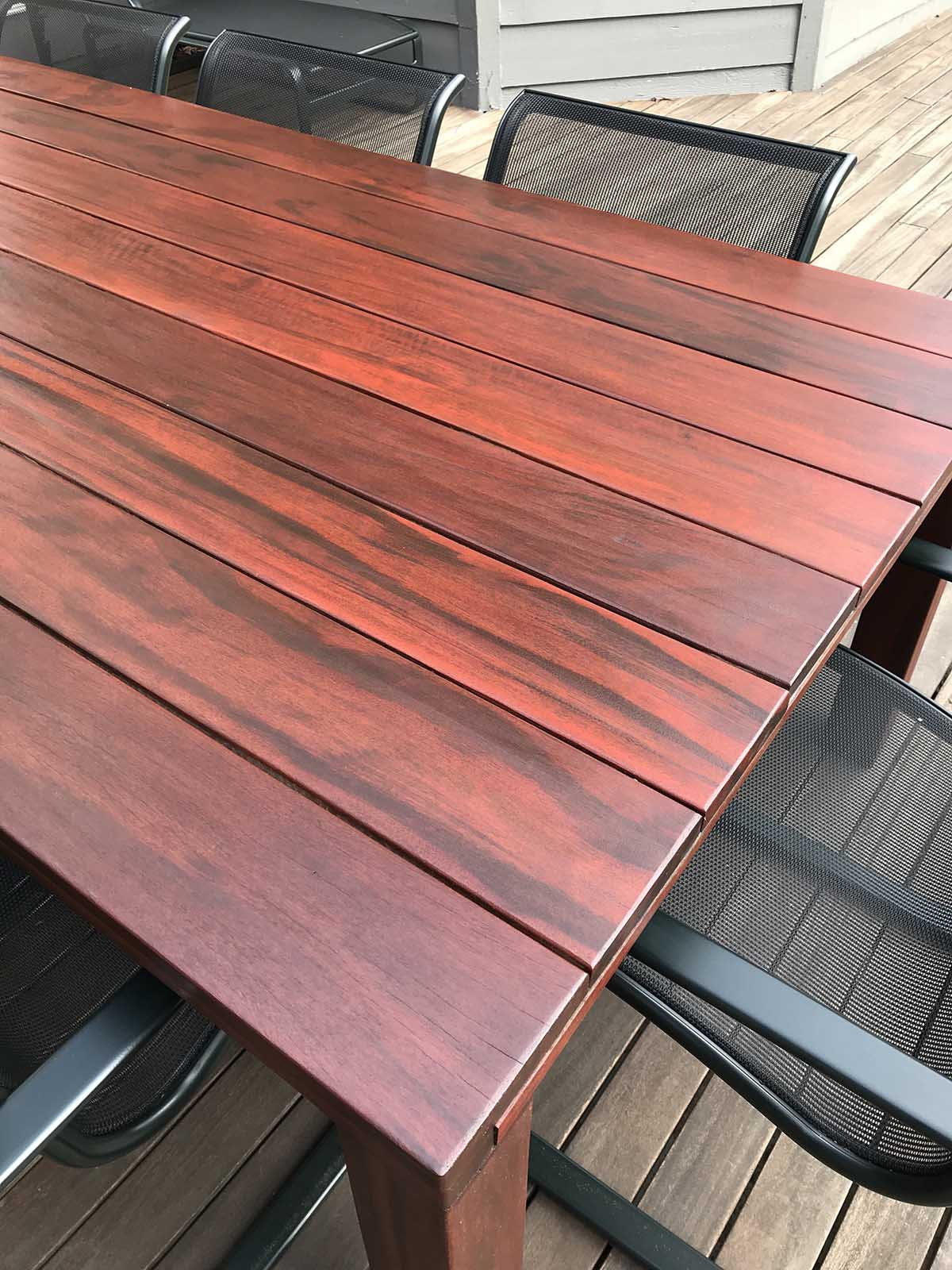 ExoShield Treated TigerWood Table shown after Maintenance Coat in April 2018
