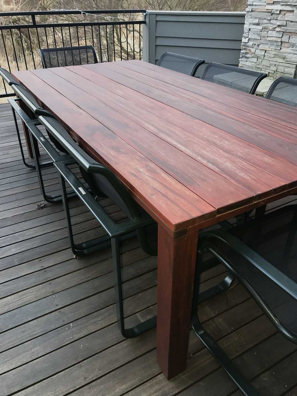 ExoShield Treated TigerWood Table shown during Winter after 9 months